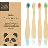 Organic Baby Bamboo Toothbrush | Four Colour | Soft Fibre Bristles | 100% Biodegradable Handle | BPA Free | Vegan Eco Friendly Baby Toothbrushes by Wild & Stone