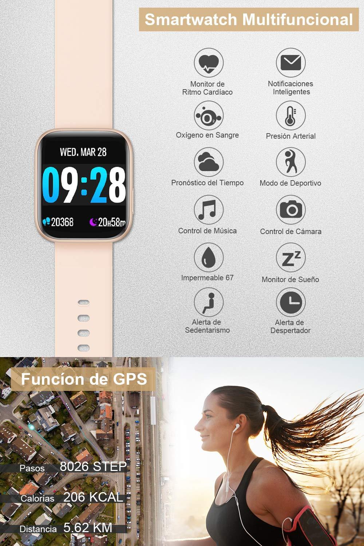 BANLVS Smartwatch, 1.4 Inch Reloj Inteligente IP67 con Pulsómetro Presión Arterial, Monitor de Sueño Podómetro Contador de Caloría, Smartwatch Mujer Reloj Inteligente para Hombre Mujer Niños 5