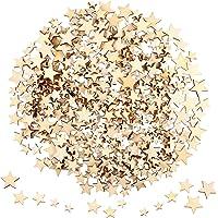 400 Pièces Mini Tranches Étoiles en Bois Embellissements Étoiles en Bois de Taille Mixte Étiquettes en Bois Étoile pour…