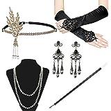GrassVillage FLAPPER 5 PIECE SET V1 Ladies Charleston Fancy Dress 1920's Gatsby Accessories Set - Deluxe2 Gloves, Deluxe2 Hea