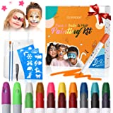 Pinturas Cara para Niños-GLAMADOR Kit de Pintura Faciales y Corporales-16 Colores,2 Tiza de Pelo,28 Plantillas Pequeñas-Segur