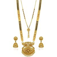 Brado Jewellery Traditional Necklace Pendant Gold Plated Hand Meena 30inch Long and 18inch short 2 Inch Earring Combo Of…