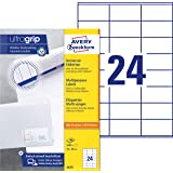 Avery Zweckform 3475 Adressaufkleber A4 (mit ultragrip (70x36 mm, 100 Blatt, Papier matt, bedruckbare, selbstklebende Adressetiketten, 2.400 Klebeetiketten) weiß