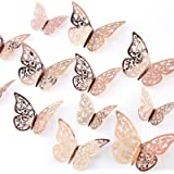 AIEX 24pcs 3D Butterfly Wall Stickers 3 Sizes Butterfly Wall Decals Room Wall Decoration for Bedroom Party Wedding…