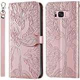 Mylne Embossing Cover for Samsung Galaxy S8,Wallet PU Leather Magnetic Flip Case Tree Pattern Case Card Slots with Stand,Rose