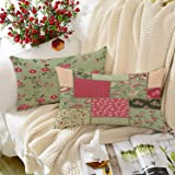 BRICK HOME Peachpatch Multicolor Printed Canvas Cotton Cushion Cover, 12X18 Inches , Set of 2
