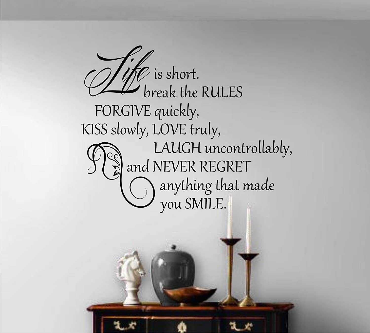 Vinyl Wall Art Quotes   Wall Sticker Decal Words   LARGE SIZE   BLACK  (Black): Amazon.co.uk: Kitchen U0026 Home