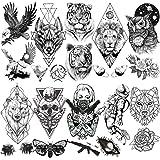 LAROI 10 Hojas Gran León Tigre Tatuaje Temporal Animales Negro Hombre Adultos Línea Geométrica Oso Búho Polilla Mujer Brazo G