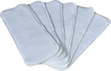 Ineffable Wet-Free Microfiber Inserts Washable Microfiber Baby Cloth Diaper Inserts 3 Layers Each Insert for Diapers Pocket Mat Nappy Changing Liners (Set of 6 (White))