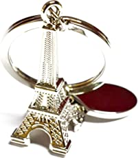 Glow Time Silver Eiffel Tower Keyring & Keychain