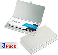3 Pack Steel ATM/Visiting / Credit Card Holder, Business Card Case Holder, Id Card Case/Holder for Men and Women - Silver