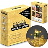 Mansaa Essentials - Home Decor String Light (Battery Operated with 3 AA Battery Case(Batteries not Included) (Gold Balls, 20