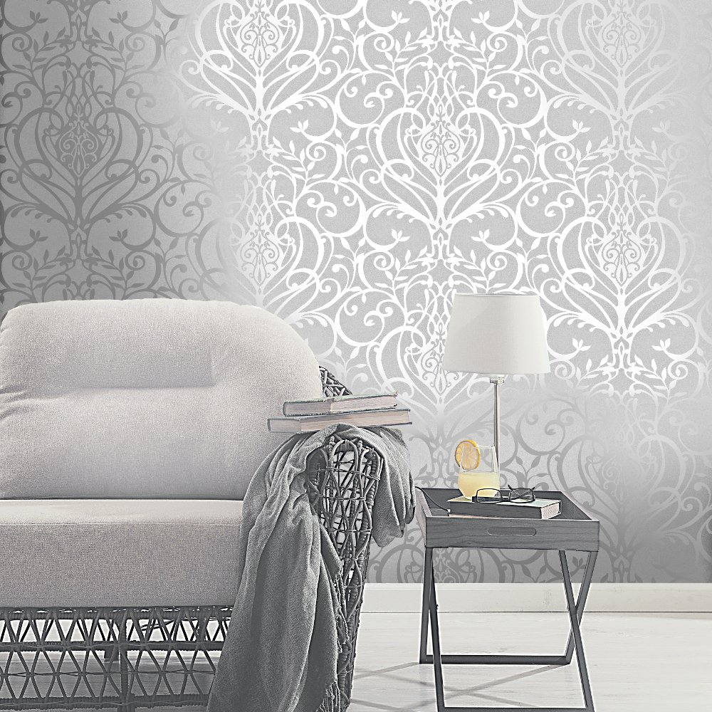 Exclusive Holden Statement Floral Damask Pattern Metallic Textured