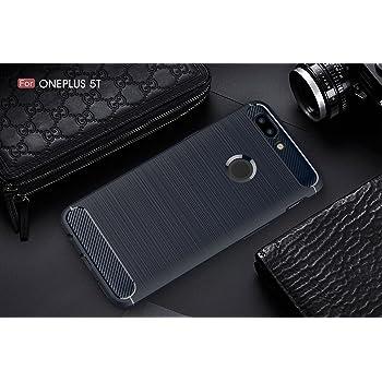 CELLBON Premium Shock Proof Carbon Fibre Brushed Texture Armour Series Slim Profile TPU Phone Back Case Cover For OnePlus 5T - Deep Blue