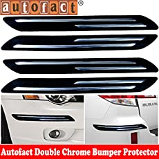 Autofact Car Accessories - Bumper protector with Double Chrome Strip - for Toyota Innova Crysta - (Set of 4)