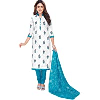 Miraan Cotton Printed Readymade Salwar Suit For Women(MIRAANSAN2321, Blue)