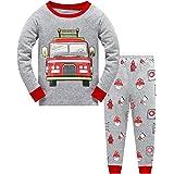 Little Hand Pijama de manga larga para niño, para otoño e invierno, con cohete, máquina de gancho, coche de bomberos, pijama