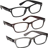 The Reading Glasses Lunettes de Lecture Noir Brun Gris Lecteurs Valeur Set de 3 Hommes Femmes RRR77-127 +1,50