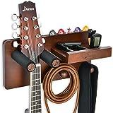 Donner Soporte Guitarra Pared Madera, Colgador Guitarra Pared, Gancho Multifuncional para Ukelele con Soporte Púas y 2 Gancho