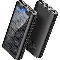 Solar Powerbank Handy 30000mAh - WBPINE Externer Akku USB Power Bank Doppelter USB-Ausgang mit LED-Taschenlampe für…