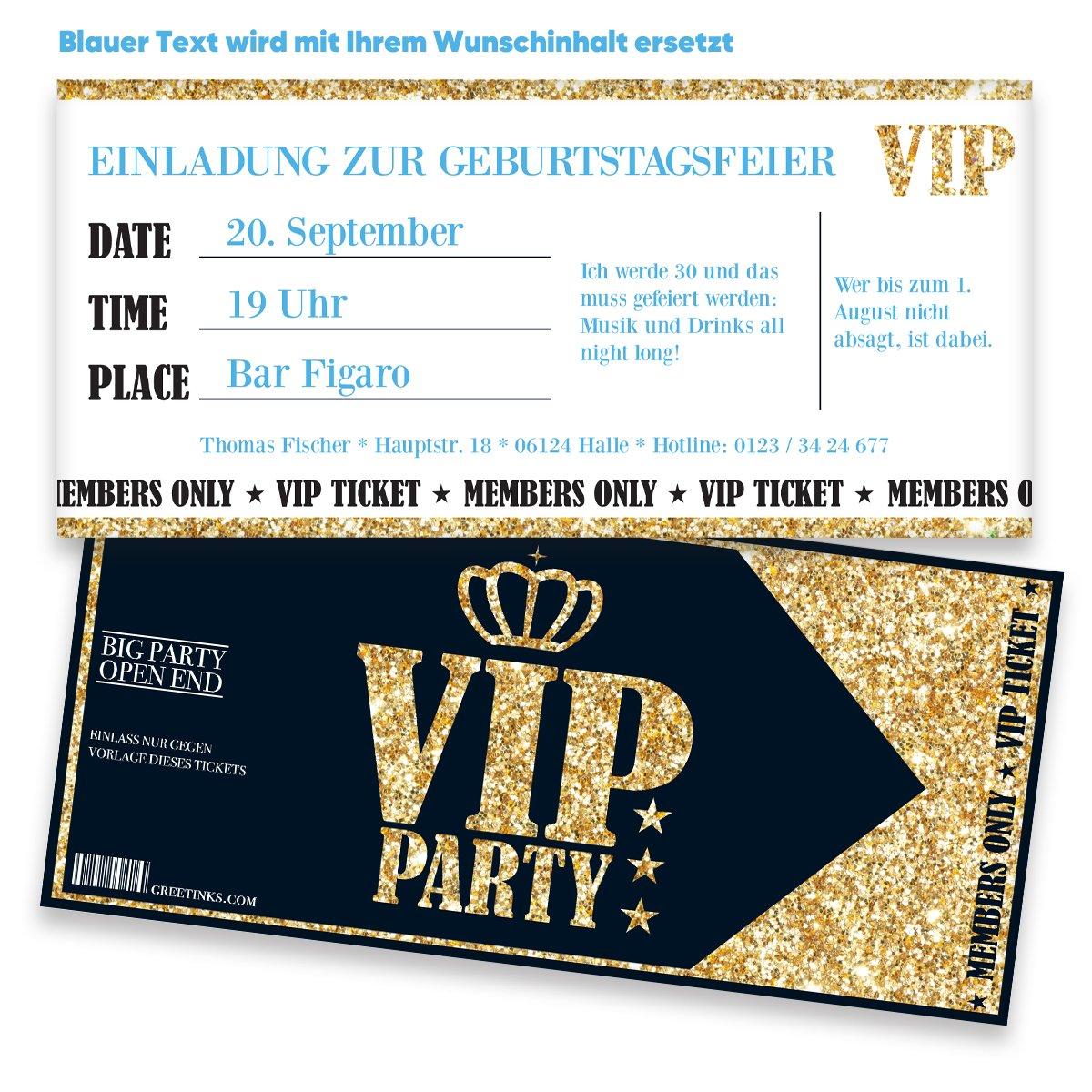 Einladungskarten Zum Geburtstag Für VIP | 10 Stück | Inkl. Druck Ihrer  Texte | Individuelle Einladungen | Jugendweihe | Kindergeburtstag | Karte  Einladung ...