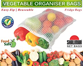 Shalimar Reusable Vegetable Organizer Bags/Fridge Bags/Net Bags (2 Bags of Each Size 20.5 cms x 25.5 cms / 23.0 cms x 30.5 cms / 25.5 cms x 35.5 cms) (Natural Color)