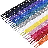 Aibadaliu Lacci piatti per scarpe sportive, 12 paia di lacci colorati da 0,8 cm di larghezza e 100 cm di lunghezza, per scarp