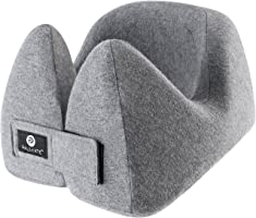 PALMATE Travel Pillow - A Patented Neck Pillow with Neck, Head and Chin Support, Cooling Airplane Pillow, Grey
