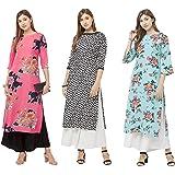 GoSriKi Women's Multicolor Printed Straight Kurta Pack of 03(CHAKRI-SAAHO-Dabba)
