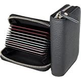 Womens Credit Card Holder Wallet Genuine Leather Zip RFID Blocking Card Case with Stainless Steel Zipper Woman Compact Accord