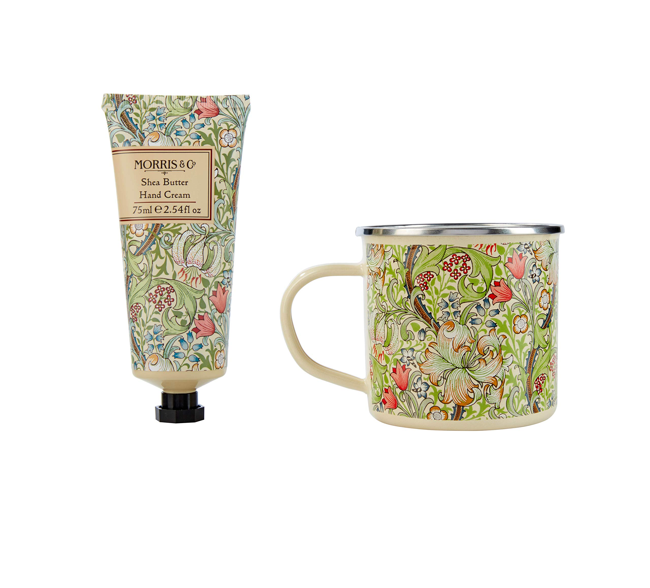 Morris & Co Golden Lily – Taza esmaltada con crema de manos de 75 ml
