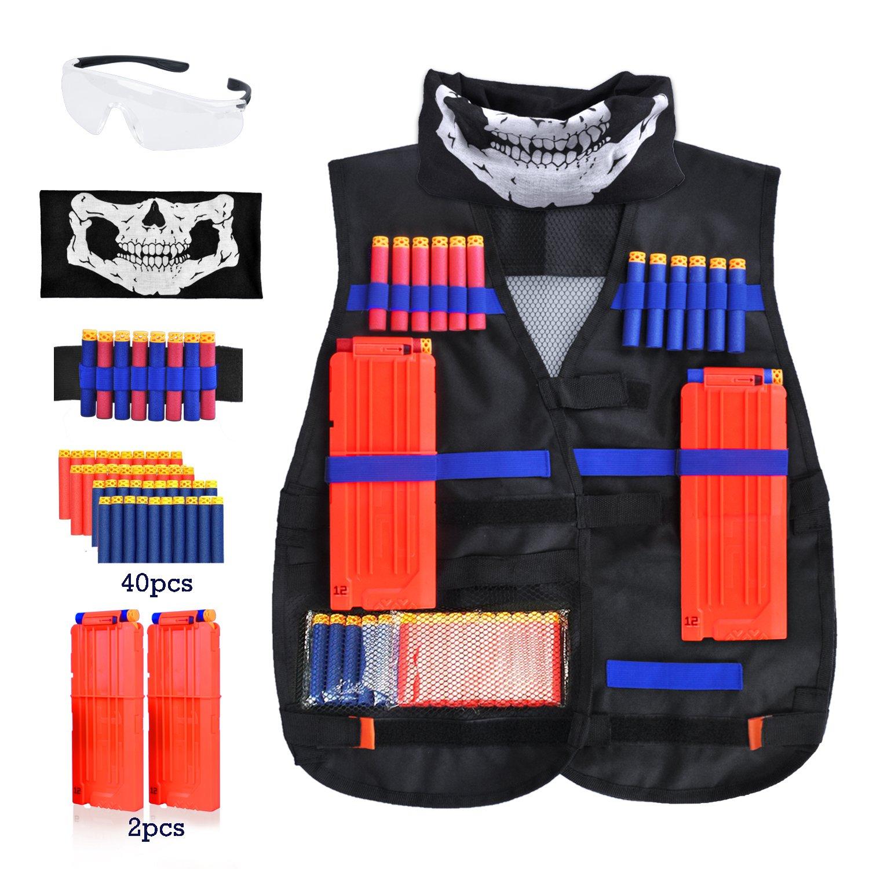 Forliver Kids Tactical Vest Kit, Kids Elite Tactical Vest Kit For Nerf  N-strike
