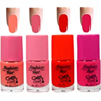 Fashion Bar 15 34 551 29 Nail Polish Combo,Peach Neon Pink, Neon Red,Redish Pink,20ml,Pack of 4