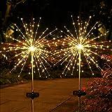 105 LEDs Lumières de Starburst, Emeritpro Éclairage pour Chemins Feu d'artifice, Blanc Chaud, IP65 étanche Lampe Solaire Jard