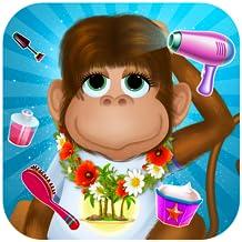 Animaux salon de coiffure et d'habillage : singe de la jungle et les amis doivent le coiffeur ! Jeu Gratuit pour les enfants