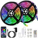 10M Bluetooth Tiras LED Musical 5050 RGB, Akapola Tiras de Luces LED Iluminación con 12V 300 LEDS, Función Musical, Horario P