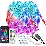 LED Bluetooth-tape, TASMOR 20M / 65,6ft RGB LED-strip, RGB-led met afstandsbediening, zelfklevend synchroniseren met muziek,