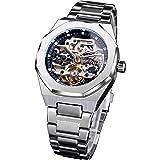 Forsining Montre-bracelet mécanique automatique de luxe en forme de tourbillon de diamant pour homme en acier inoxydable arge