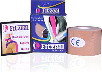 Fitzeal Kinesiology Tape, Waterproof Therapeutic and Sports Injury Tape (5m x 5cm) with Free Taping Guide (Beige)