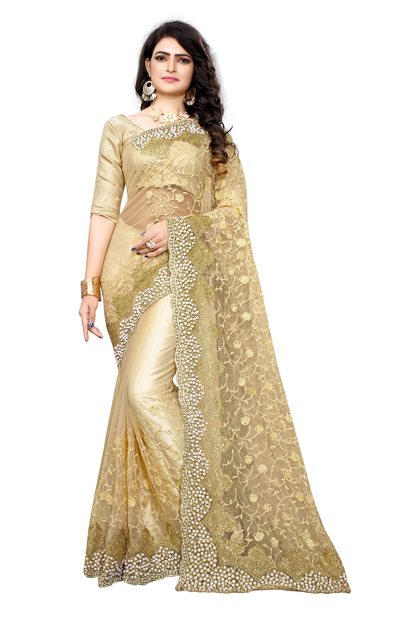 Women's Mono Net & Banglory Silk Saree With Blouse Piece