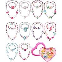 Set di 30 Gioielli Bracciale Collana Principessa Ragazza Include 10 Set Braccialetto con Collana di Perline da Bambina e…