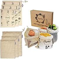 Vegetalize - Sacs Réutilisable en Coton Bio avec Motifs - Idéal pour Fruits et Légumes, Provisions, Vrac, Rangement…