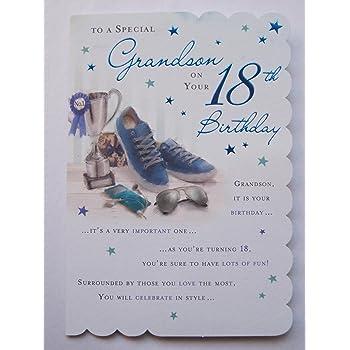 STUNNING TOP RANGE BEAUTIFULLY WORDED GRANDSON EIGHTEEN 18TH BIRTHDAY CARD