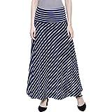 DAMEN MODE Women White & Navy Stripe Elegant Skirt