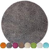 Tapis de bain rond Lasalle anti-glissant et douillet (diamètre 60 cm 1200 g/m²), Couleur:Gris