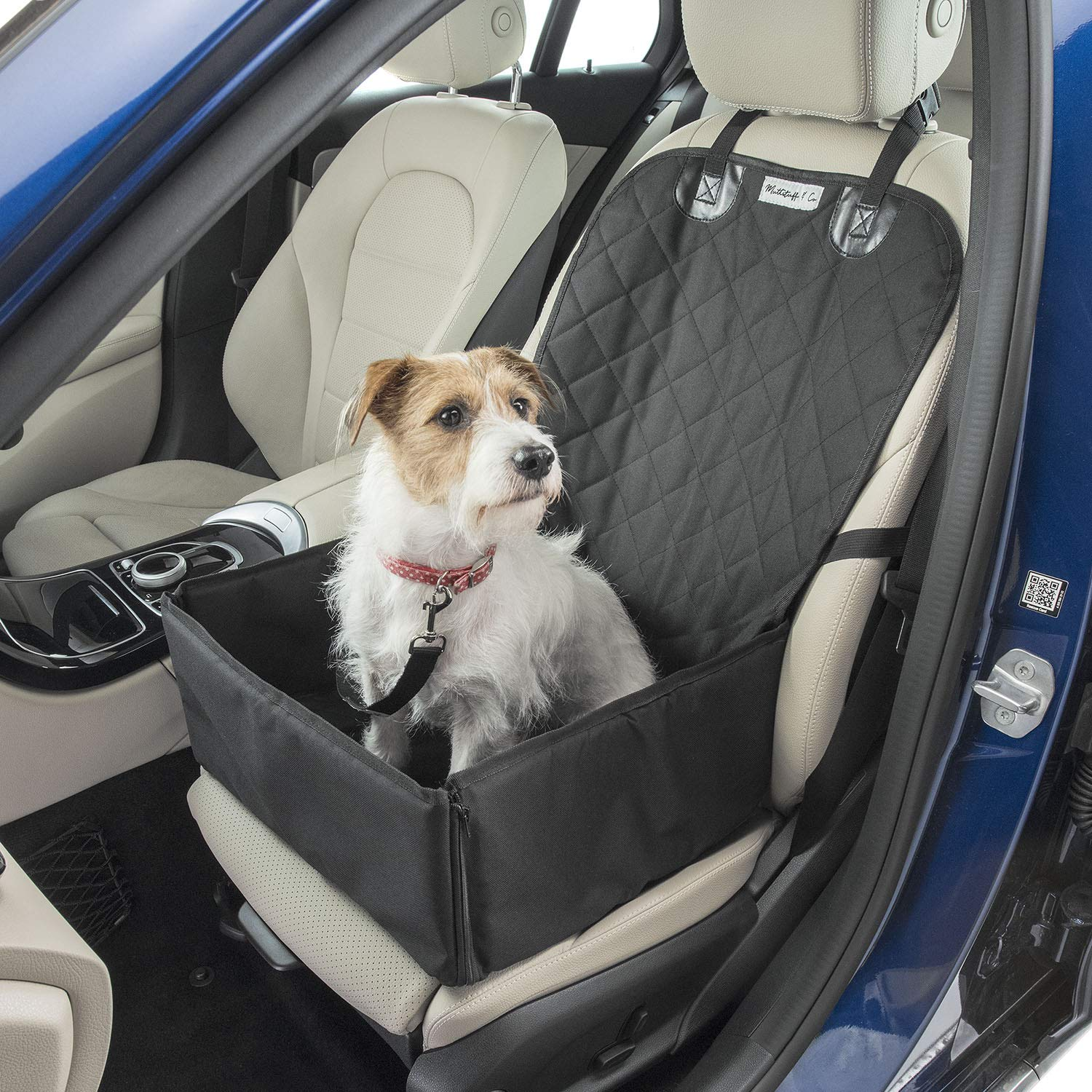 Dog Car Seat Cover with FREE Pet Seat Belt MuttStuff & Co Waterproof Covers  (2-in-1) Fold Down Flaps for Full Front Coverage or Small Basket Hammock