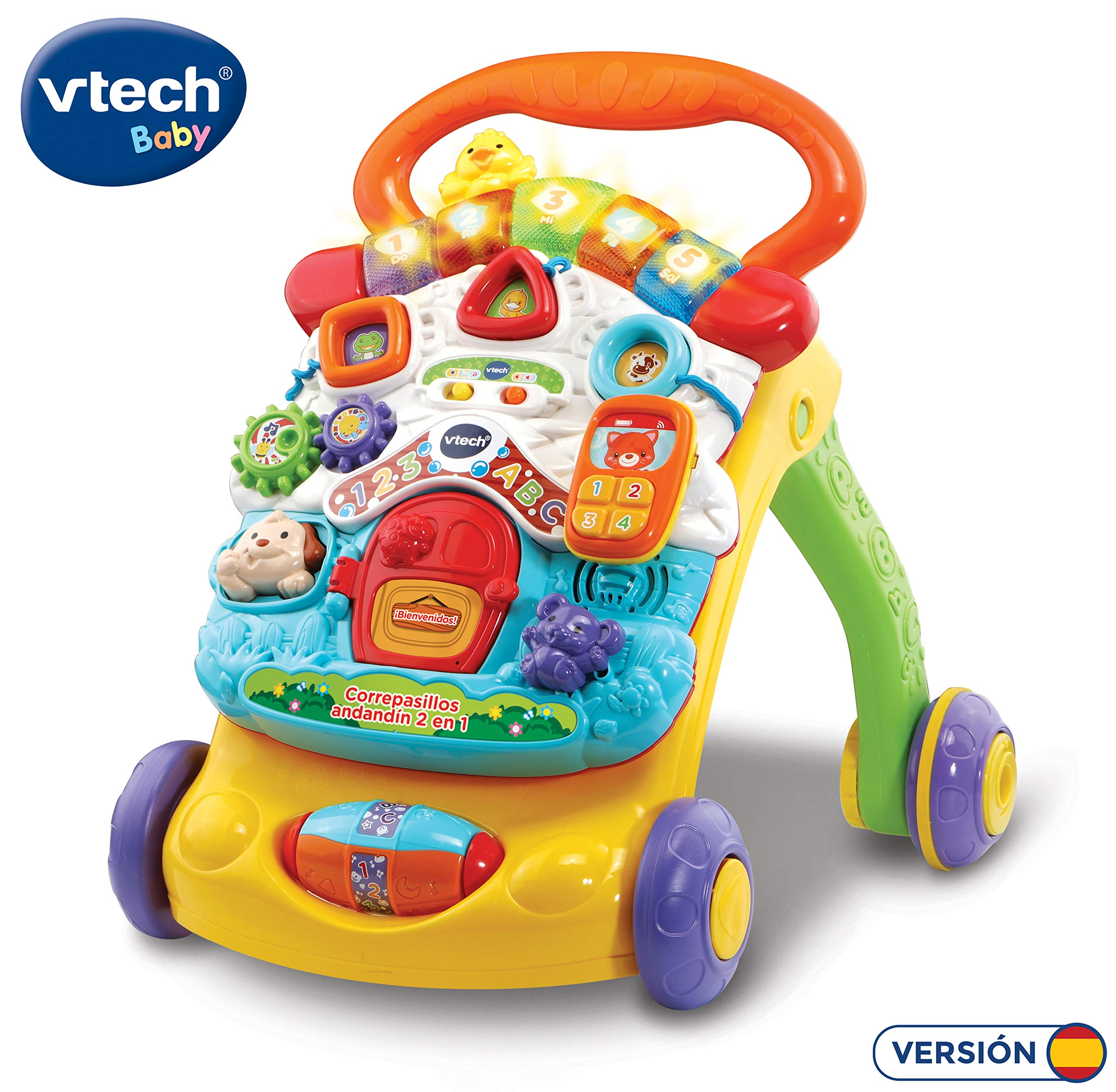 VTech – Correpasillos Andandín 2 en 1, Diseño Mejorado, Andador Bebé InTeractivo Plegable y Regulador de Velocidad, Multicolor (80-505622) , color/modelo surtido