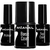 MEANAIL Primer Base e Top Coat Semipermanente • Primer Unghie Gel Base Coat e Top Coat per Smalto Semipermanente e Gel UV • T