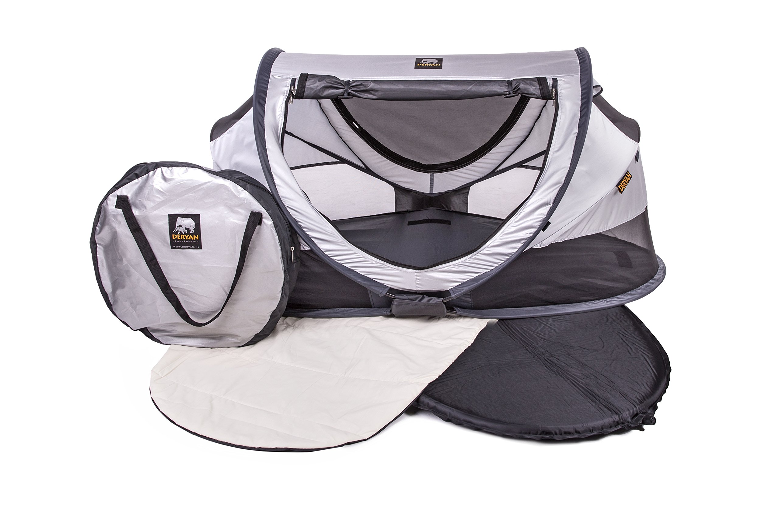 Travel Cot Peuter Luxe (Silver) Deryan 50% UV Protection and flame retardant fabric Setup in 2 seconds and a anti-musquito net  5