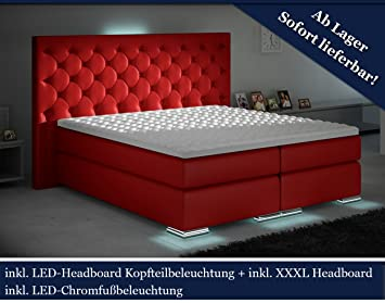 xxxl boxspringbett designer boxspring bett led chesterfield (rot ... - Xxxl Küche